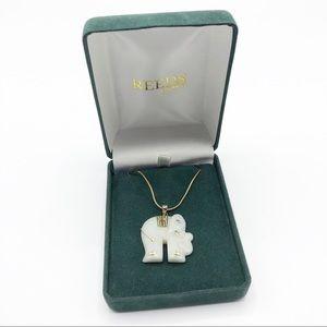 Reeds Jewelery 14k and Jade elephant necklace